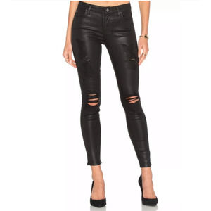 7 For All Mankind Black Coated Ripped Jeans 30